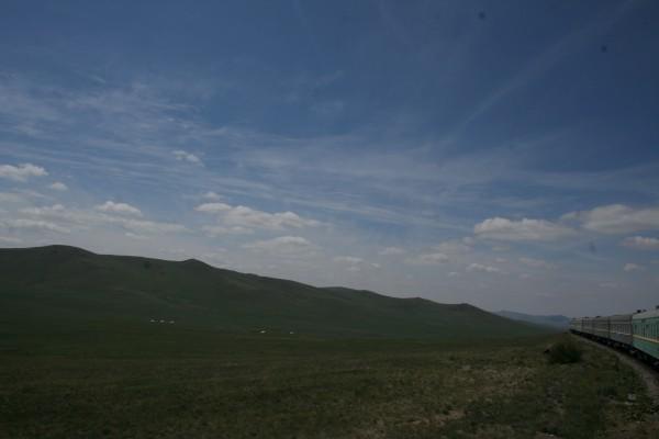Mongolian plane with yurts